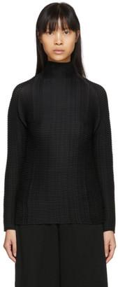 Issey Miyake Black Wooly Pleats Turtleneck