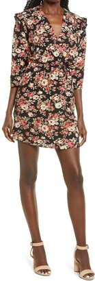 Fraiche by J Pem Ruffle Shoulder Floral Dress