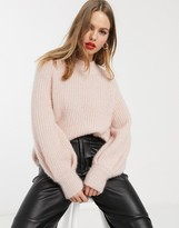 Stradivarius oversized knit with metallic thread in pink