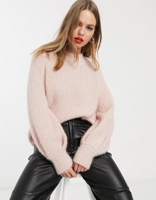 Stradivarius oversized knit with metallic thread in pink
