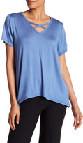 Vanity Room Short Sleeve Front Crisscross Tee (Regular & Petite)
