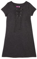 Aqua Girls' Lace-Up Knit Dress - Sizes S-XL