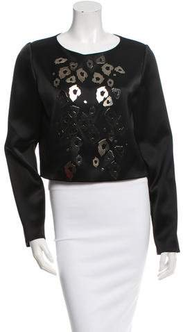 Anthony Vaccarello Embellished Satin Top w/ Tags