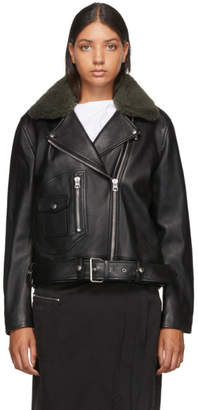 Acne Studios Black Leather Shearling Biker Jacket