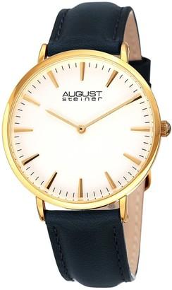 August Steiner Ladies Classic Boyfriend Style Blue Leather Strap Watch