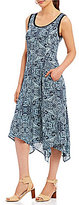 Jones New York Summer Paisley Print Handkerchief Hem Tank Dress