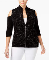 Belldini Plus Size Embellished Cold-Shoulder Cardigan