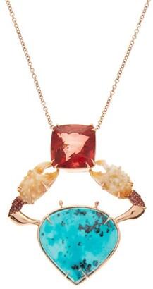 Daniela Villegas Asgaya Gigagei Sapphire & 18kt Rose-gold Necklace - Blue Multi