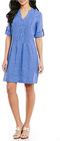 J.Mclaughlin J. McLaughlin Riviera Split Neck Rolled Sleeve Dress