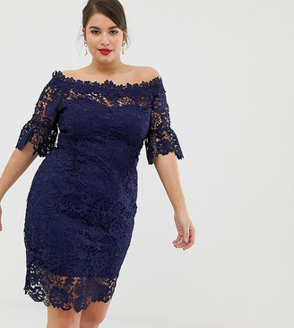 Paper Dolls Plus all over lace bardot dress in navy