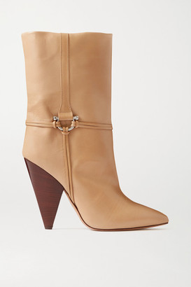 Isabel Marant Lunder Leather Ankle Boots - Beige