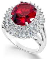 Macy's Synthetic Ruby & Cubic Zirconia Double Halo Ring in Sterling Silver