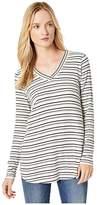 Mod-o-doc Mod O Doc Stripe Rib Long Sleeve V-Neck Tee (Grey) Women's Clothing