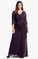 Adrianna Papell Plus Size Women's Beaded Mesh Gown