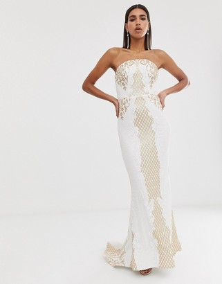 Bariano embellished patterned sequin maxi gown with train in white and gold-Purple