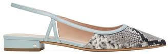 Kate Spade Sunday Snakeskin-Embossed Leather Slingback Ballet Flats