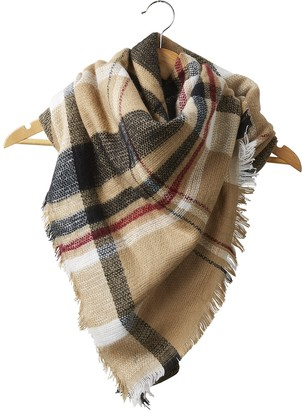 Tickled Pink Women's Scarf-Blanket Plaid