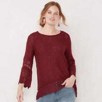 Lauren Conrad Women's Pointelle Bell-Sleeve Top