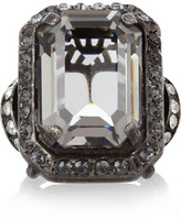 Lanvin Gunmetal-tone crystal ring