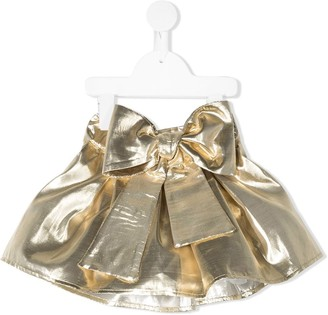 La Stupenderia Bow-Detail Metallic Skirt