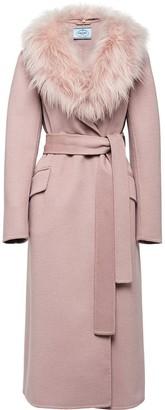 Prada fur collar mid-length coat