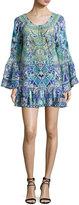 Camilla A-Line Frill Coverup Mini Dress, Multi