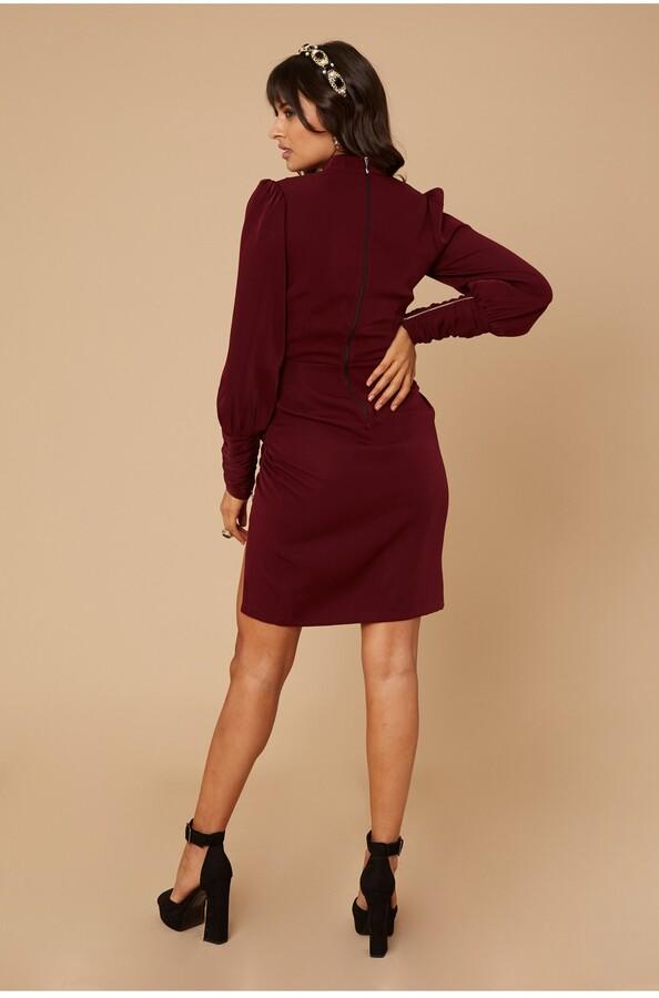 Thumbnail for your product : Little Mistress River Purple Zip Detail Pencil Dress