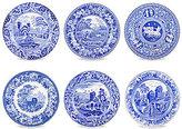 Spode Blue Italian Traditional Scene Plates, Set of 6