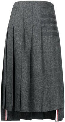 Thom Browne 4-Bar print midi skirt