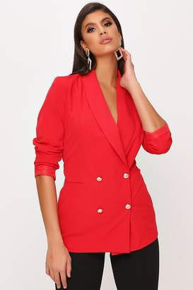 I SAW IT FIRST Red Ruched Sleeve Oversized Blazer