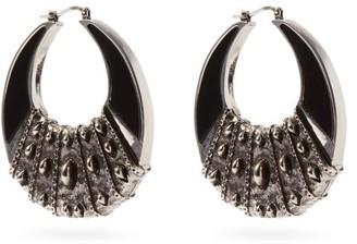 Etro Crescent Moon Metal Hoop Earrings - Black Silver
