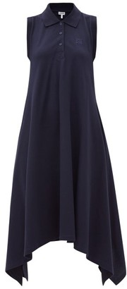 Loewe Anagram-embroidered Cotton Pique Dress - Navy