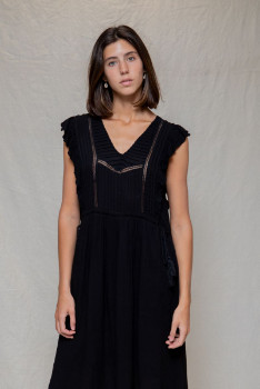 Designers Society - Black Romantic Dress with Ruffles - small