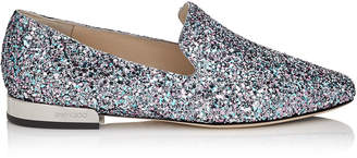 Jimmy Choo JAIDA FLAT Bubblegum Coarse Glitter Fabric Square Toe Slippers