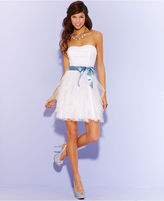 Teeze Me Juniors Dress, Strapless Belted Tulle