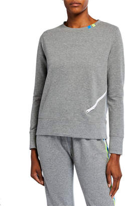 LISA TODD French Terry Zipped Long-Sleeve Top