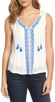 Lucky Brand Women's Embroidered Front Top