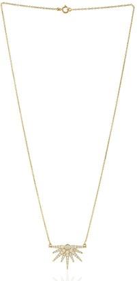 Artisan 18Kt Yellow Gold Pave Diamond Starburst Design Pendant Women Necklace Handmade Jewelry