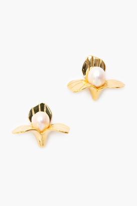 Lele Sadoughi Gold Pearl Freshwater Trillium Stud