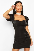 boohoo Petite Cup Detail Puff Sleeve Dress