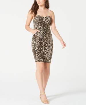 B. Darlin Juniors' Strapless Animal-Print Dress, Created for Macy's