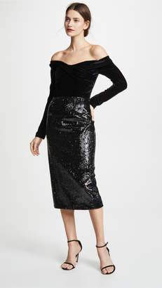 Marchesa Off the Shoulder Sequin Skirt Cocktail Dress