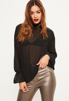 Missguided Tall Exclusive Black Sheer Elasticated High Neck Blouse