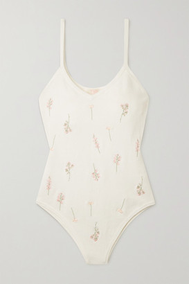 TVF Brownie Embroidered Knitted Bodysuit - White