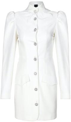 Rue Agthonis White Velvet Diamond Buckle Dress Coat