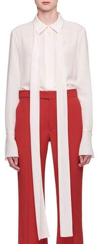Chloé Button-Front Long-Sleeve Silk Crepe De Chine Shirt with Necktie