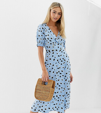 Wednesday's Girl midi dress with shirred sleeves in abstract spot print-Blue