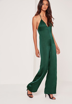 Missguided Silky Plunge T bar Romper Green