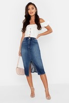 boohoo Petite Split Front Raw Hem Denim Midi Skirt