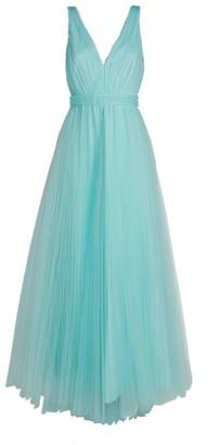 Alice + Olivia Alice+Olivia Jolie Asymmetric Tiered Tulle Gown